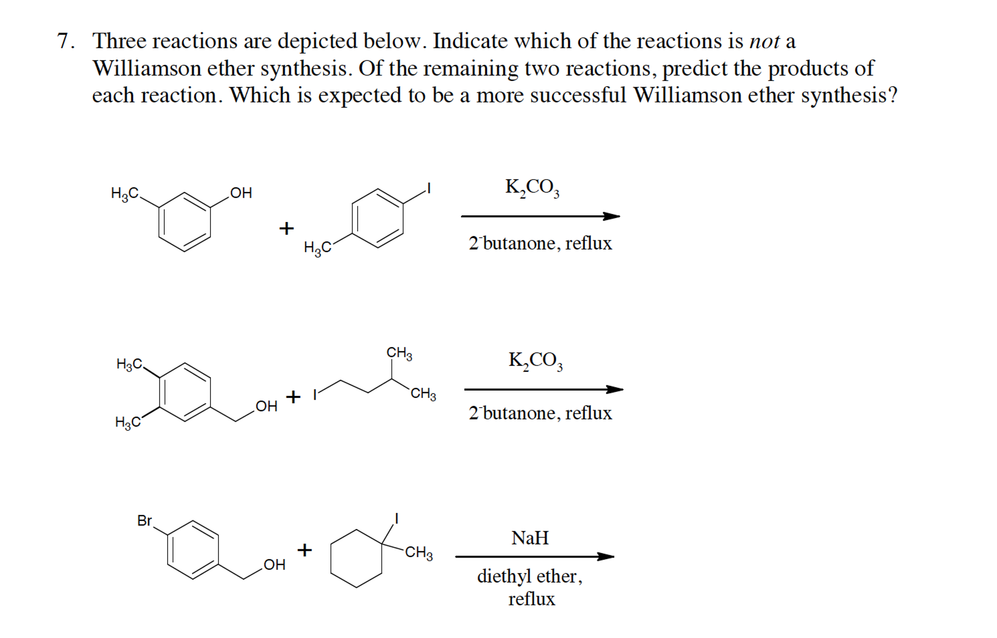 williamson ether synthesis A williamson ether synthesis consists of two separate reactions: the preparation of an alkoxide, and the reaction of this reagent with the alkyl halide sodium methoxide is prepared by the addition of sodium metal to methanol.