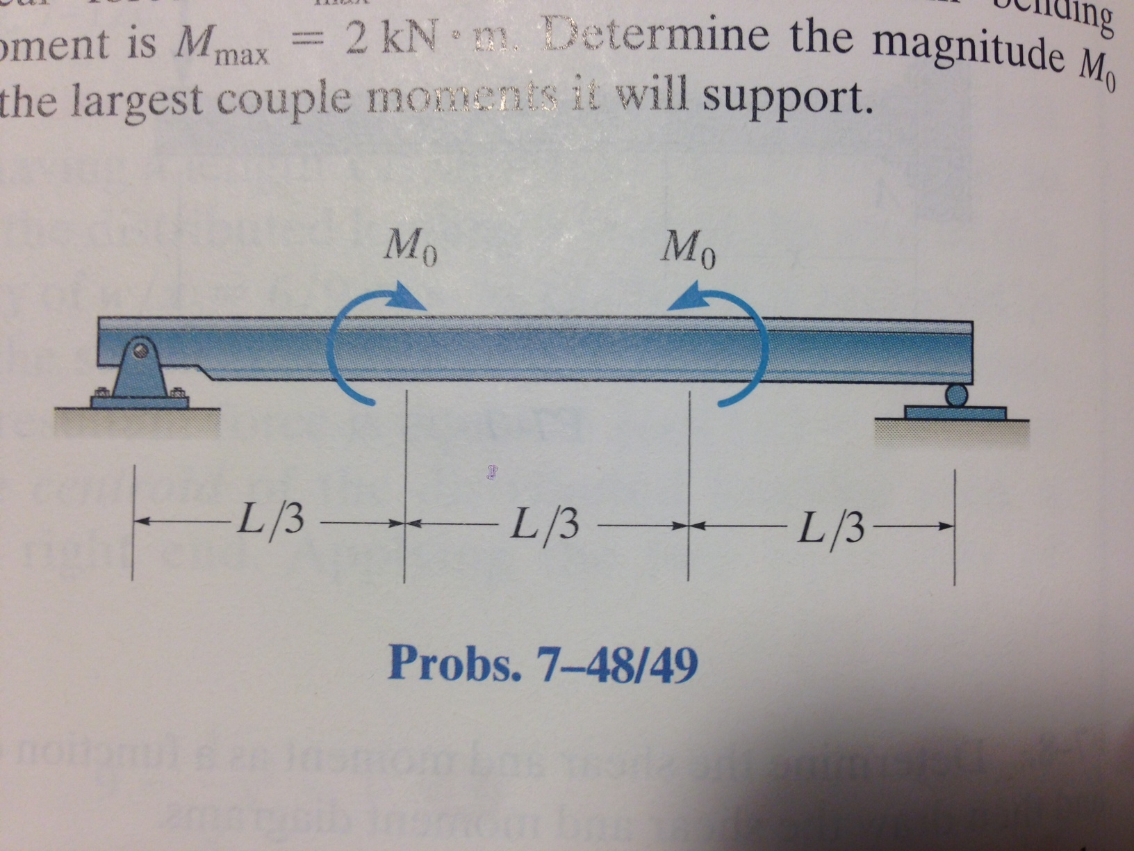Solved Problem 7 48 Rchibbeler Book Draw The Shear And Moment Diagram For Beams M Max 2kn Determine Magnitude M0 Larg
