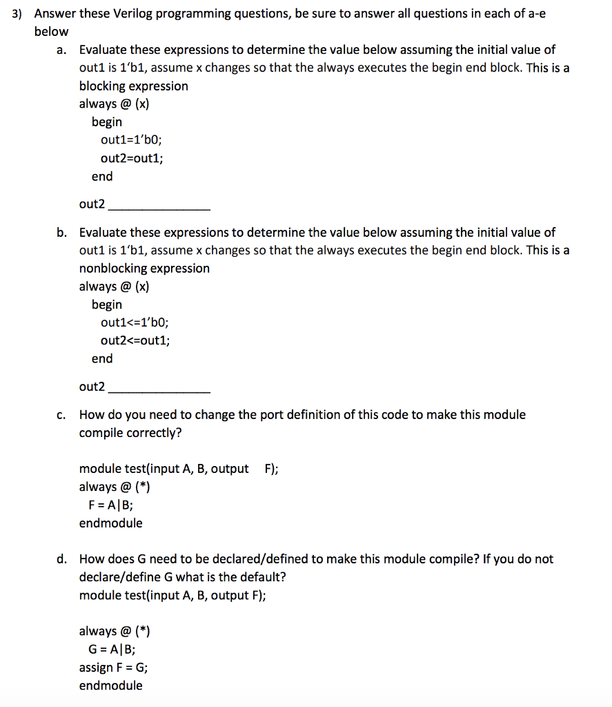 Electrical engineering archive february 05 2018 chegg answer these verilog programming questions be sure to answer all questions in each of a e fandeluxe Gallery