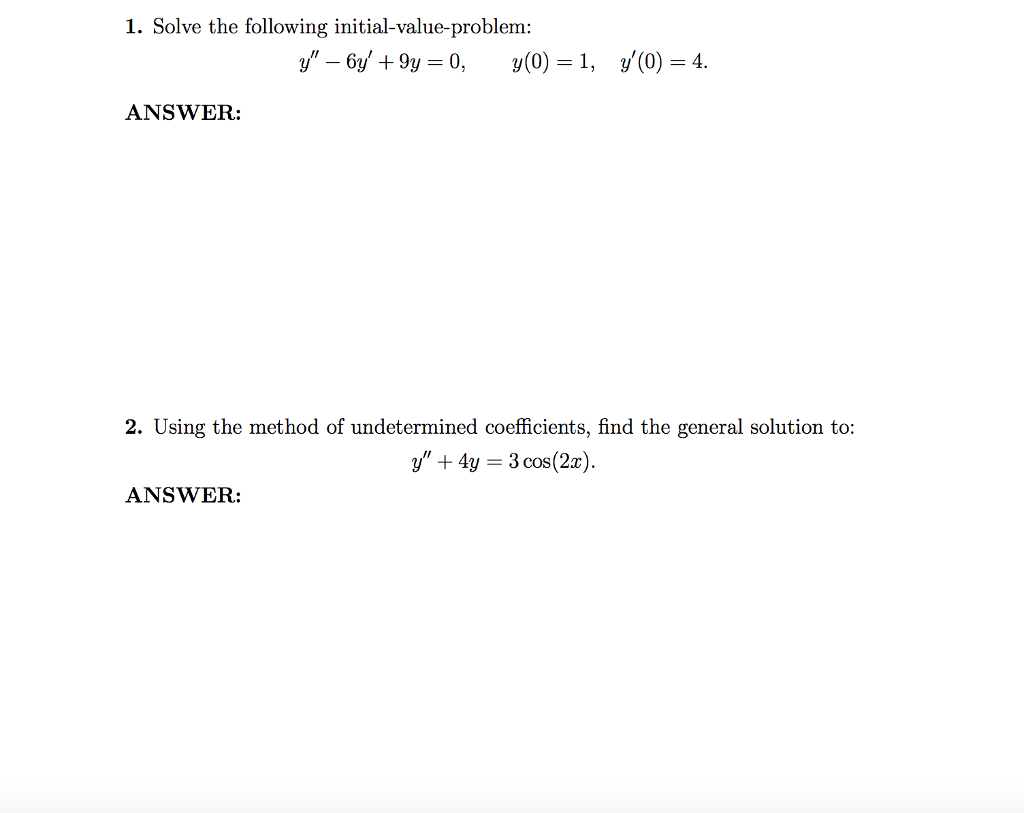 How Toplete The Square X212x By Aghmati Solve The Following  Initialvalueproblem: Y 6 Answer: 2