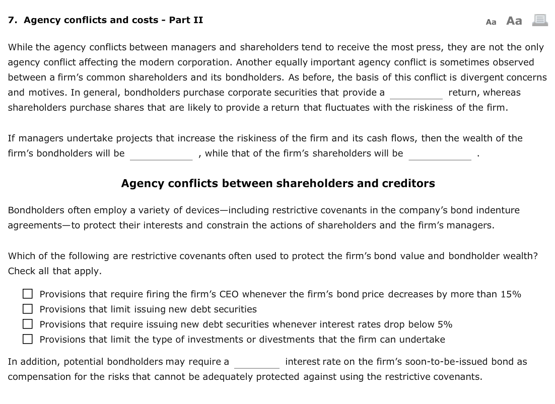 agency conflicts Related agency conflicts have long been understood by market participants who attempt to mitigate them through the use of various legal constructs (eg, representations and warranties, pooling and servicing.