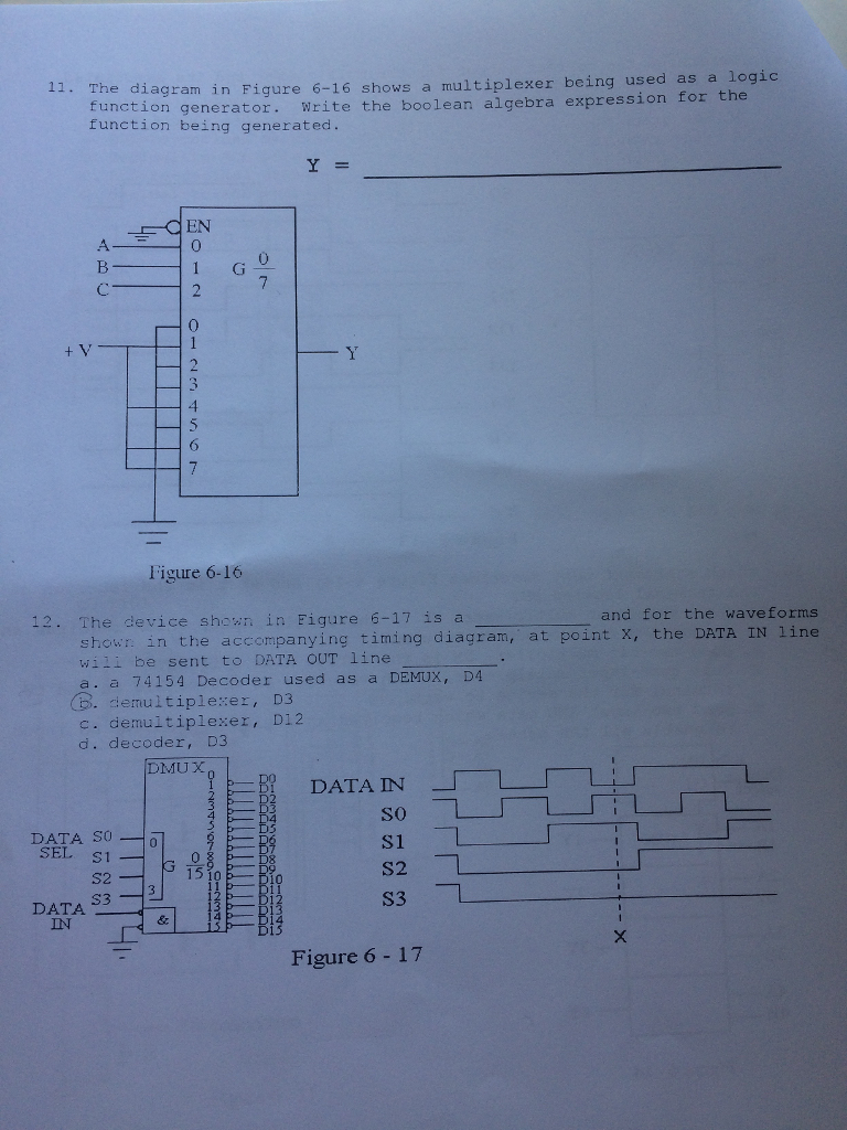 Solved The Diagram In Figure 6 16 Shows A Multiplexer Bei Engineering Timing Being Used As