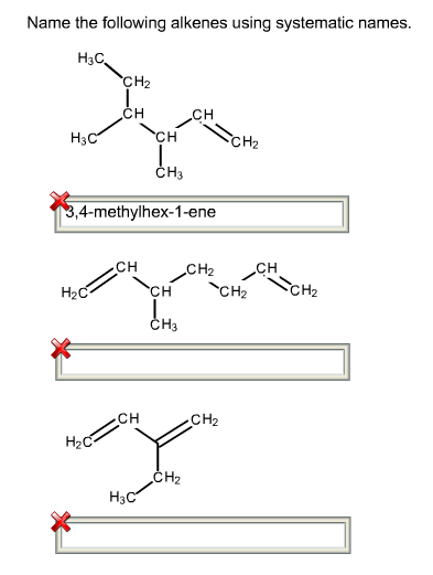 Solved: Name The Following Alkenes Using The Systematic Na