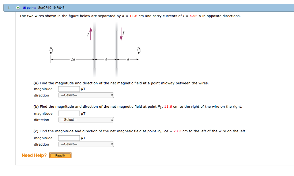 advanced physics archive com p048 the two wires shown in the figure