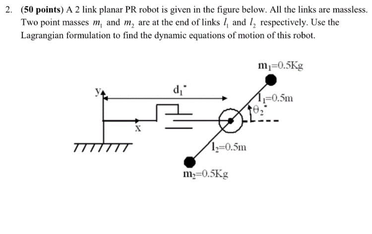Solved: A 2 Link Planar PR Robot Is Given In The Figure Be