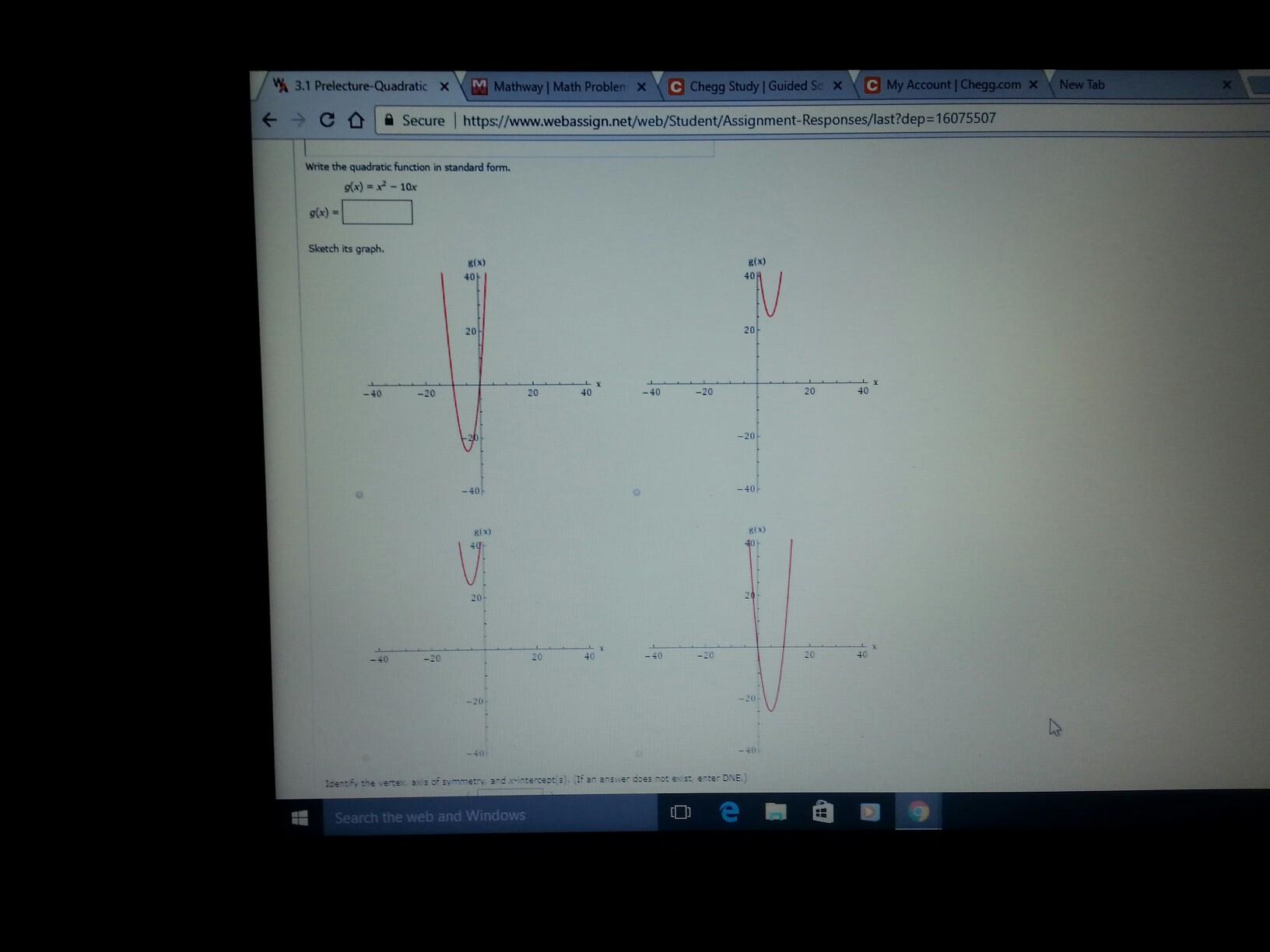 Solved: W 3,1 Prelecture-Quadra X M Mathway L Math Problem ...
