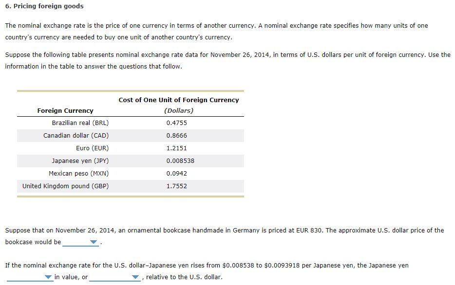 Solved: Pricing Foreign Goods The Nominal Exchange Rate Is... | Chegg.com