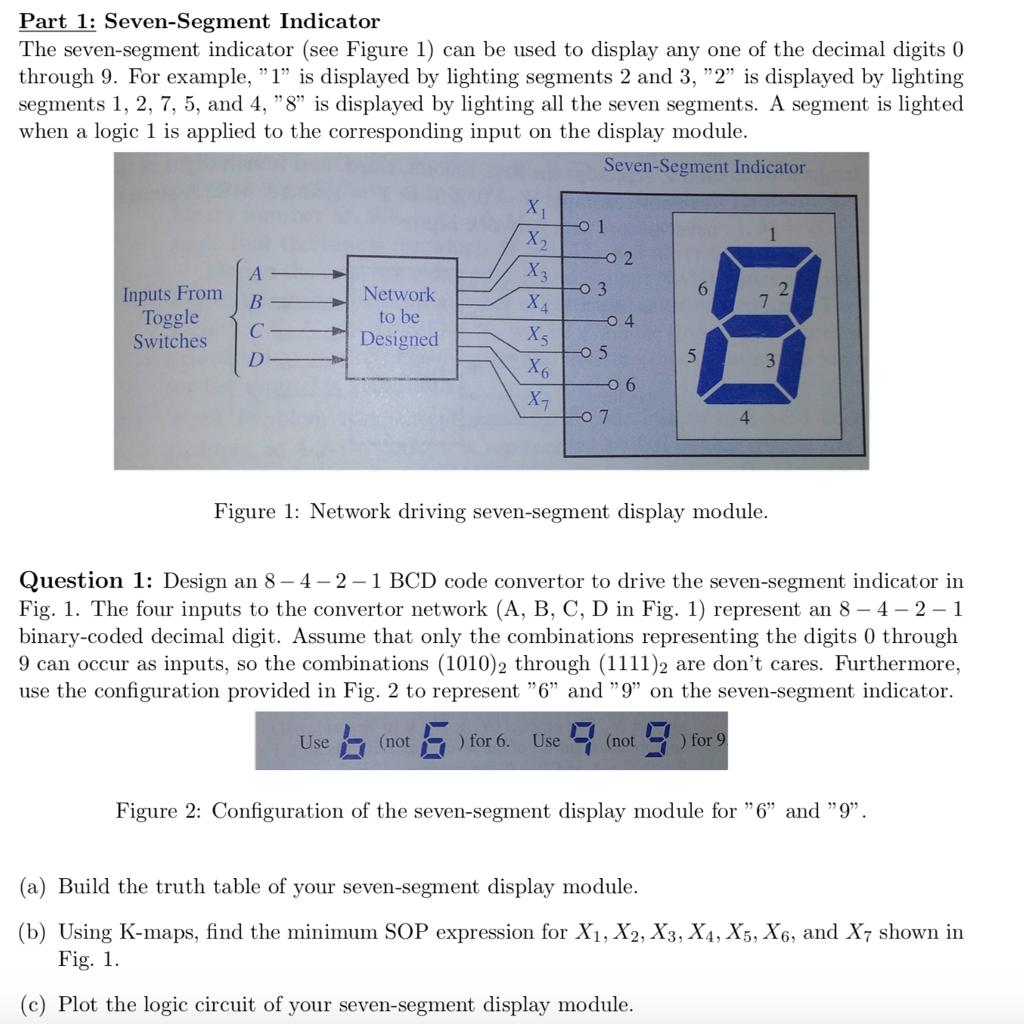 Part 1 Seven Segment Indicator The Segments Of Display See Figure