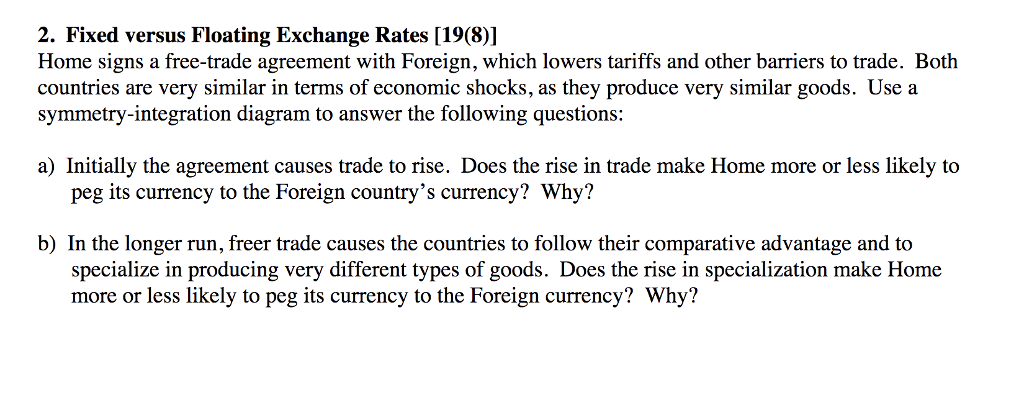 Solved 2 Fixed Versus Floating Exchange Rates 1981 Ho