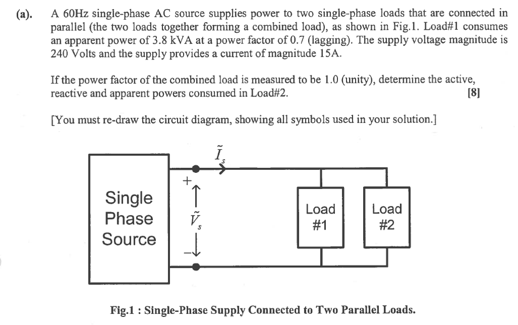 Solved A 60hz Single Phase Ac Source Supplies Power To Tw