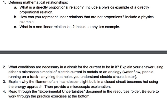 Solved Defining Mathematical Relationships What Is A Dir