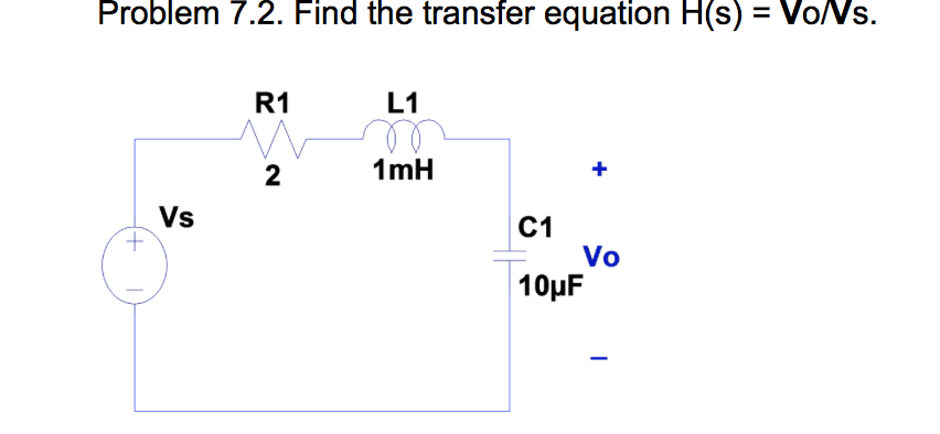 Find the transfer equation H(s) = Vo/Vs.