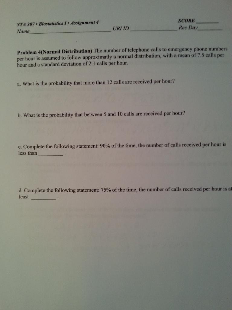 SCORE STA 307 Biostatistics 1 Assignment 4