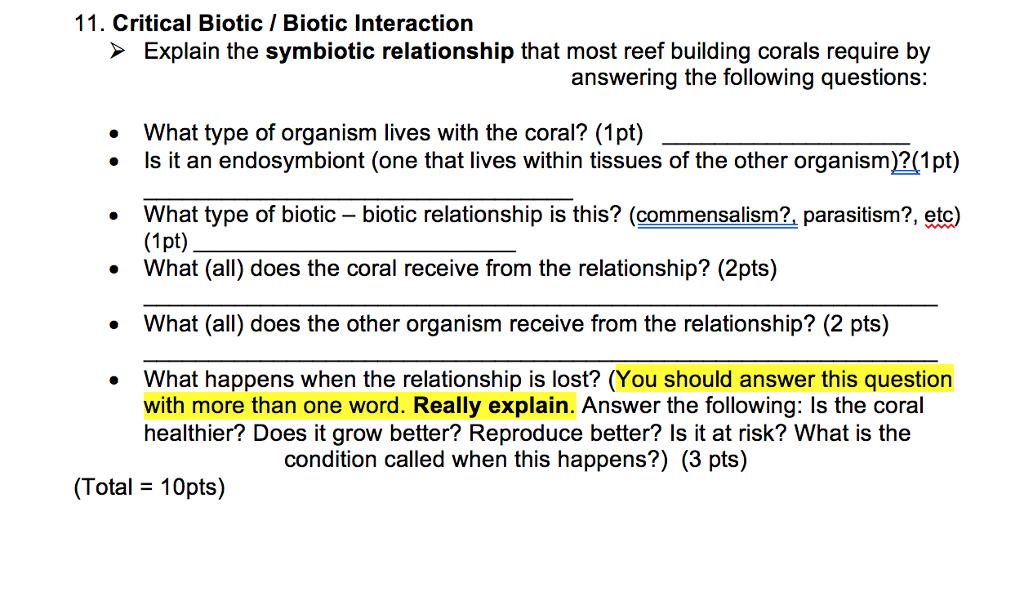 solved critical biotic biotic interaction explain the sym