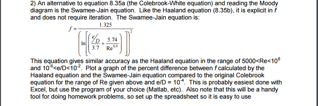 Civil engineering archive april 23 2017 chegg 2 an alternative to equation 835a the colebrook white equation and ccuart
