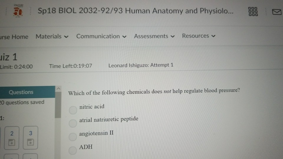 Solved 5sp18 Biol 2032 9293 Human Anatomy And Physiolo