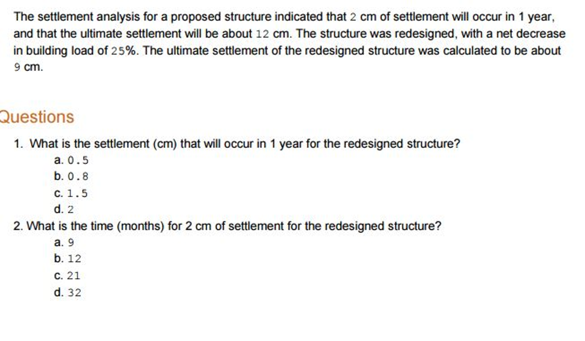 Solved: The Settlement Analysis For A Proposed Structure I