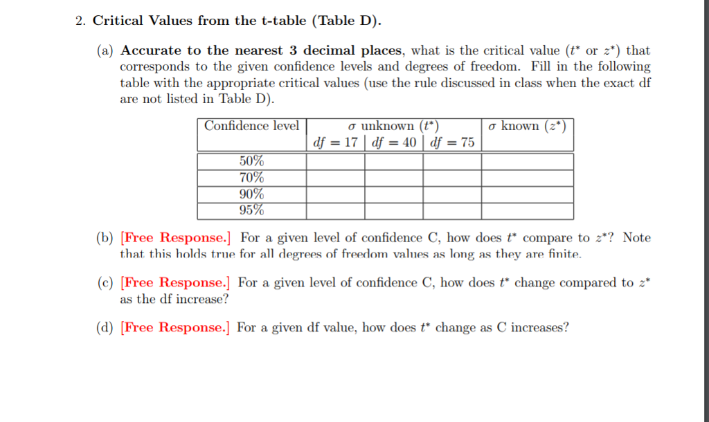Critical Values From The T Table Table D A Accurate