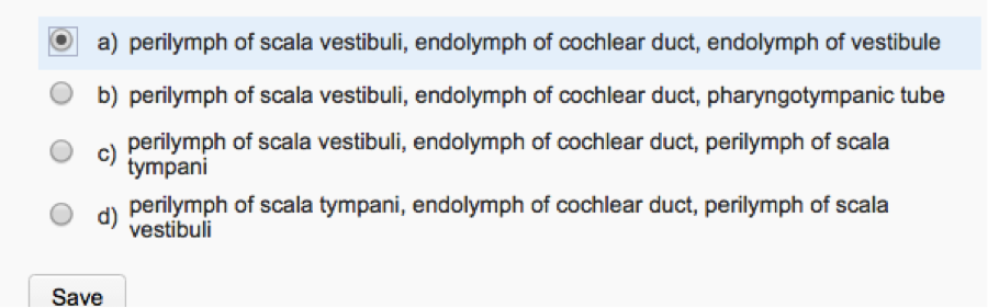 A Perilymph Of Scala Vestibuli Endolymph Cochlear Duct Vestibule B