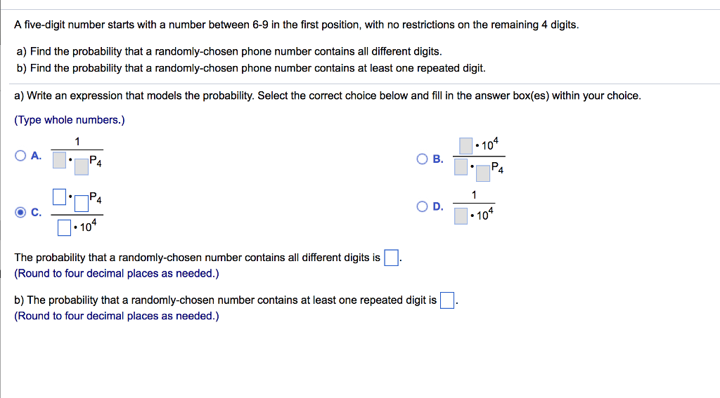 Solved: A Five-digit Number Starts With A Number Between 6