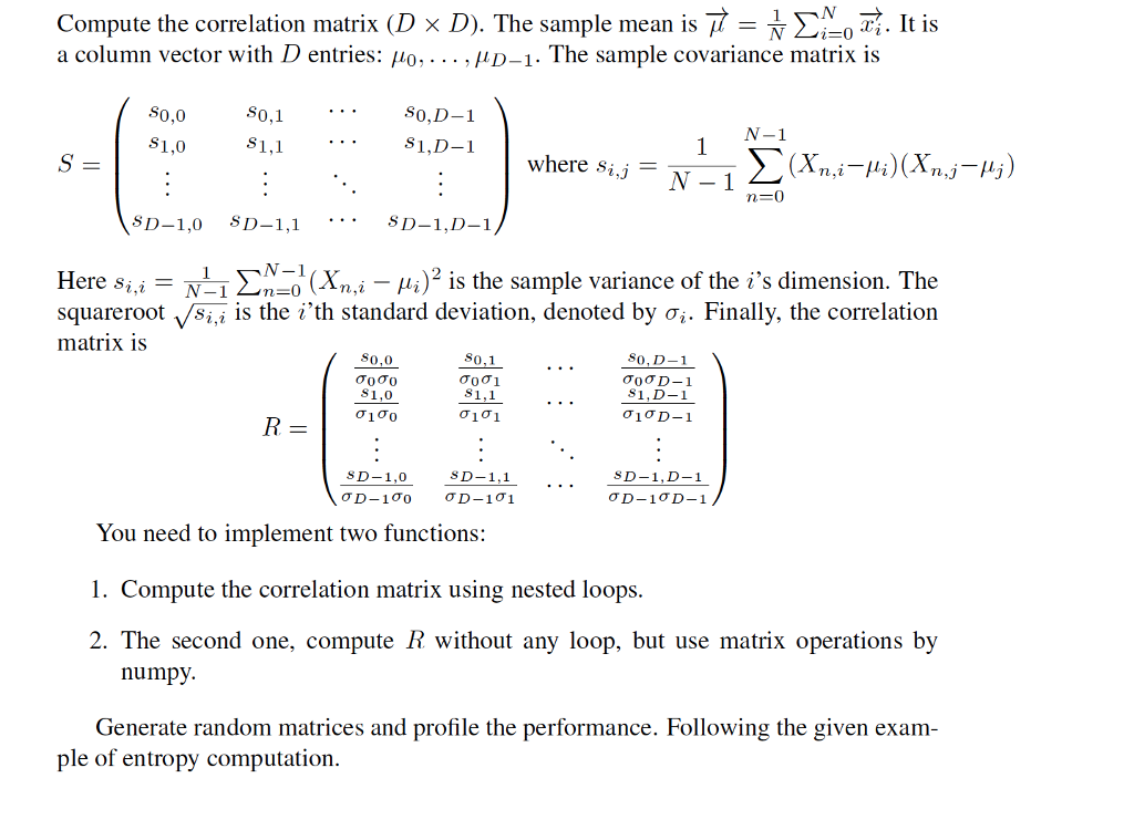 Solved: Compute The Correlation Matrix (D × D)  The Sample