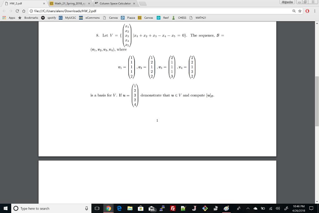 Solved: HW 2pdf IE Math-21-SPnn9-2018-syx Cr × Column Spac