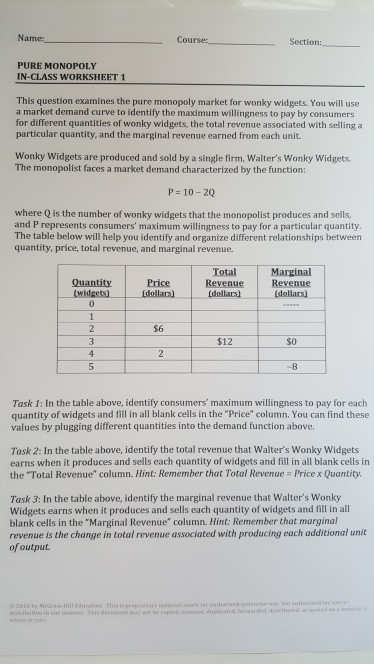 Solved: Course: PURE MONOPOLY IN-CLASS WORKSHEET 1 This Qu ...