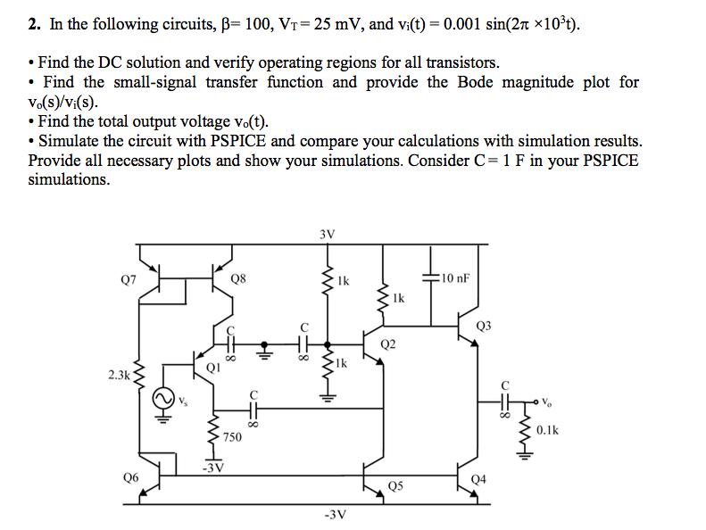 in the following circuits beta 100 v t 25 mv chegg com rh chegg com
