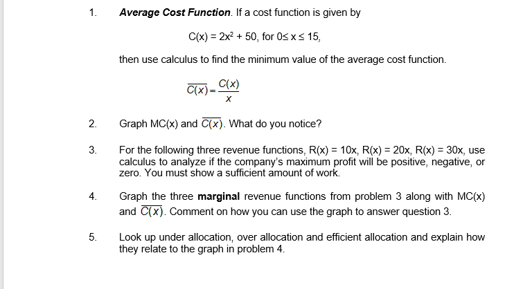 marginal average cost function
