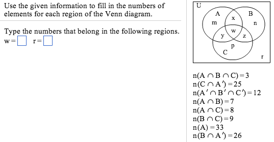 Solved use the given information to fill in the numbers o question use the given information to fill in the numbers of elements for each region of the venn diagram ccuart Choice Image