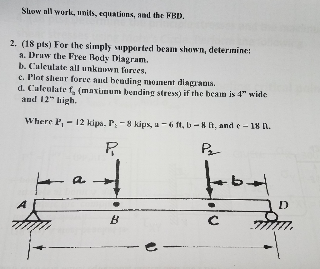 Solved Units Equations And The Fbd For Simply Su How To Draw Shear Force Bending Moment Diagram Question Supported Beam Shown Determine Free