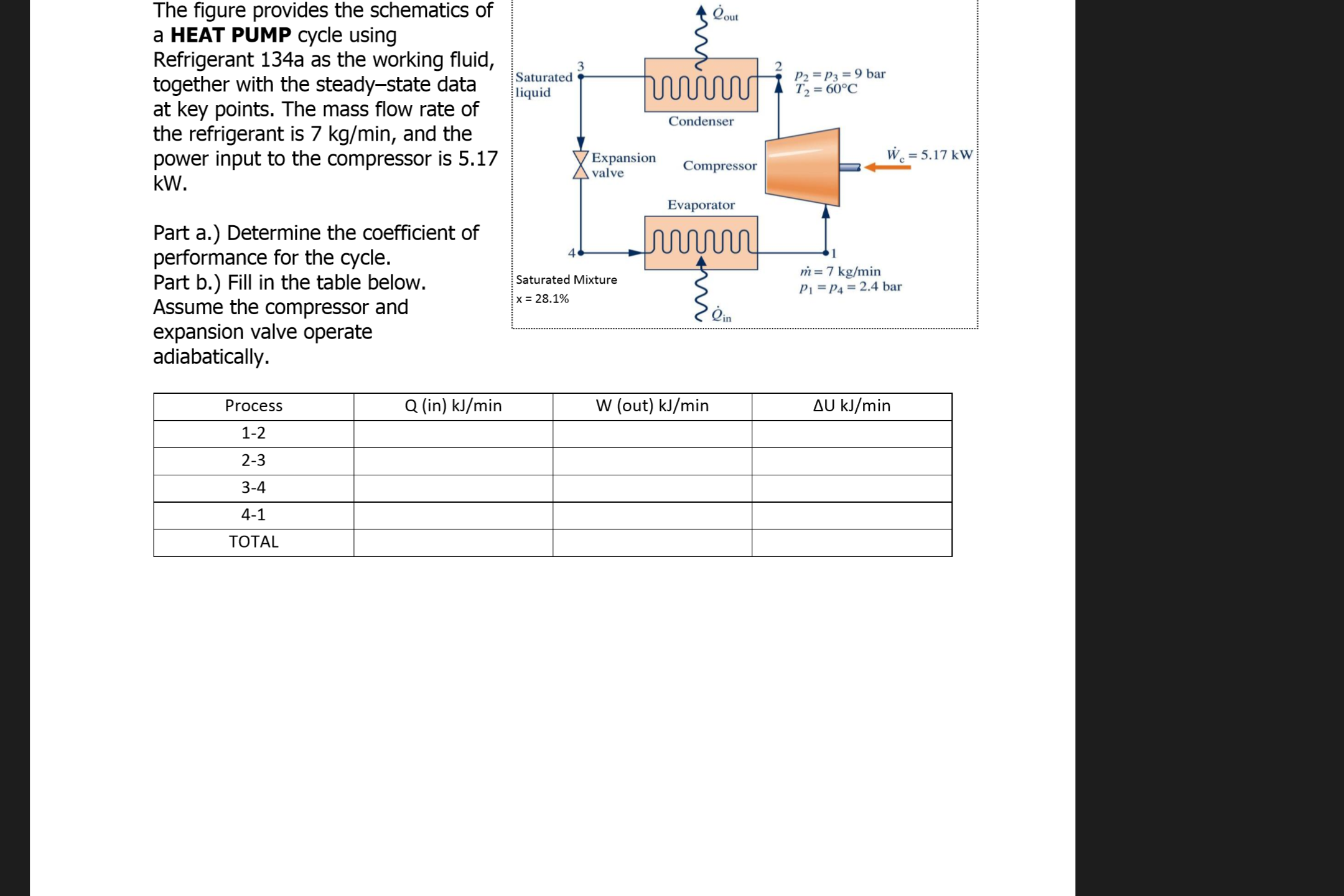 Solved The Figure Provides The Schematics Of A Heat Pump