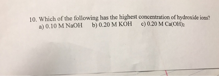 Which solution below has the highest concentration of hydroxide ions formula