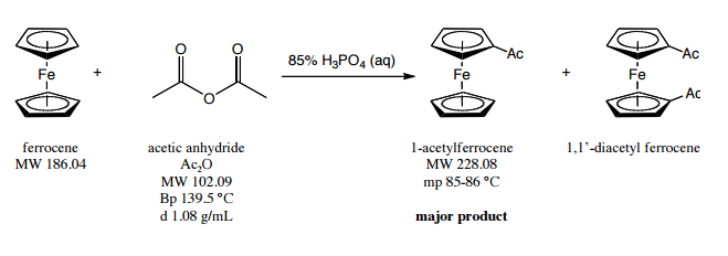 Solved Fe Ferrocene Mw 186 04 Acetic Anhydride Acao Mw 1