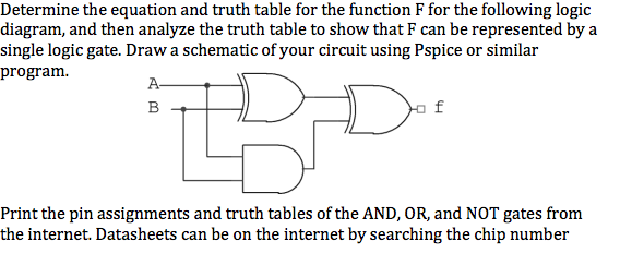 determine the equation and truth table for the function f for the following logic  diagram,