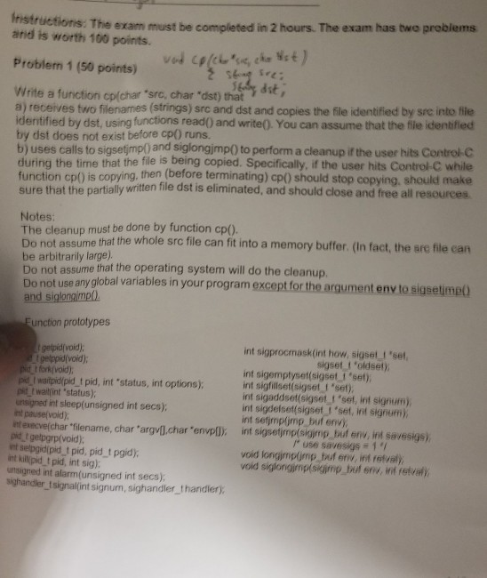 Solved Instructions The Exam Must Be Completed In 2 Hour