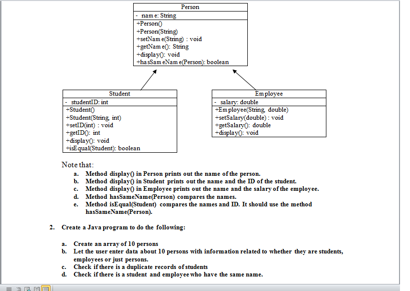 use the following uml class diagram to create java chegg Methods and Variables Java with UML Class Diagram person nam e strin person person string setnam e use the following uml class diagram to create java