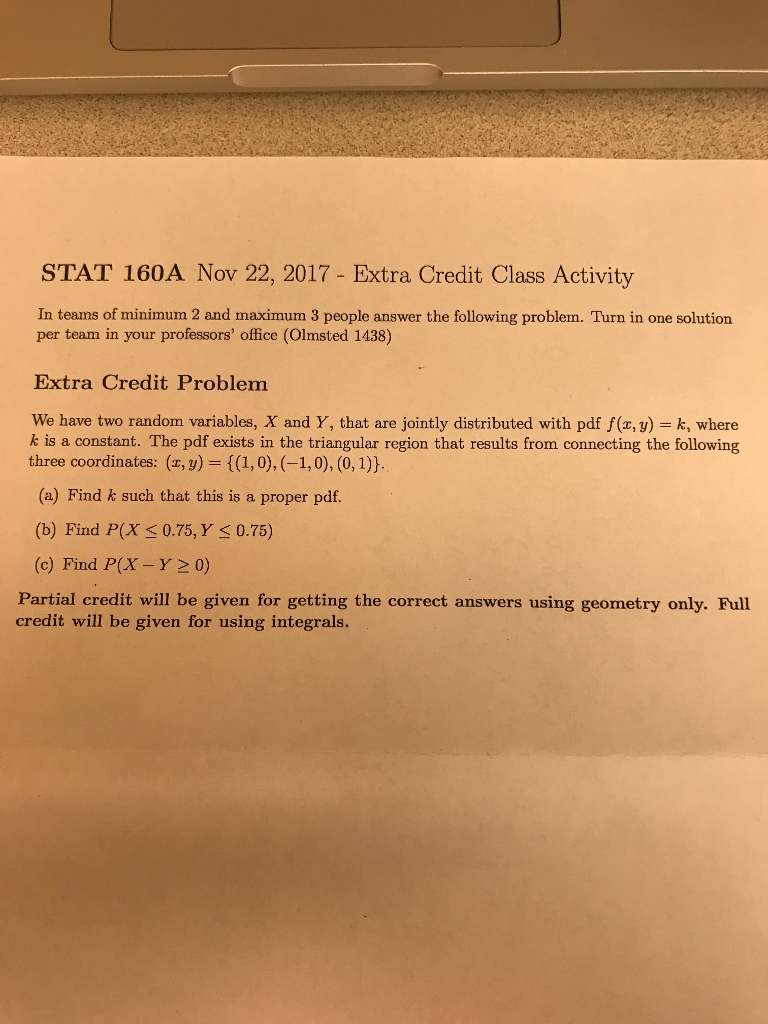 Statistics and probability archive november 22 2017 chegg stat 160a nov 22 2017 extra credit class activity in teams of minimum 2 fandeluxe Choice Image