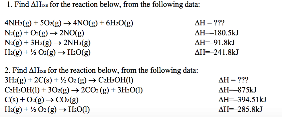 Solved: Hess's Law Problems. | Chegg.com