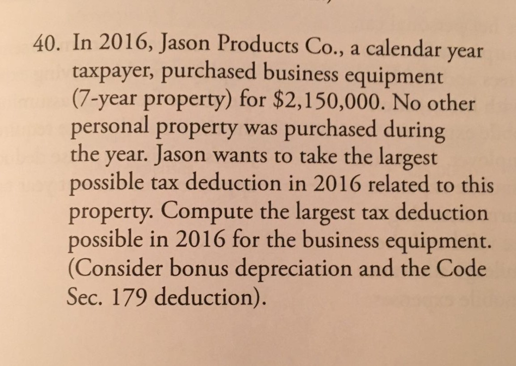 Calendar Year Question : Solved jason products co a calendar year taxpayer purc