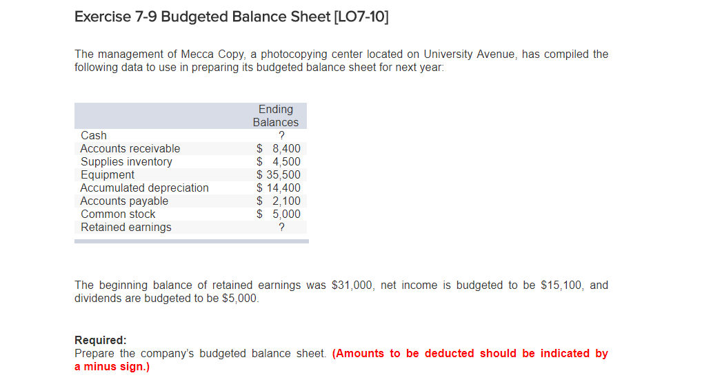 exercise 7 9 budgeted balance sheet lo7 10 the management of mecca