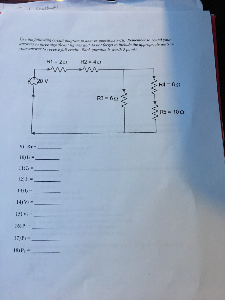 Solved: Use The Following Circuit Diagram To Answer Questi ...