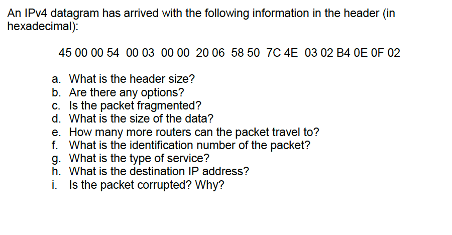 Solved: An IPv4 Datagram Has Arrived With The Following In