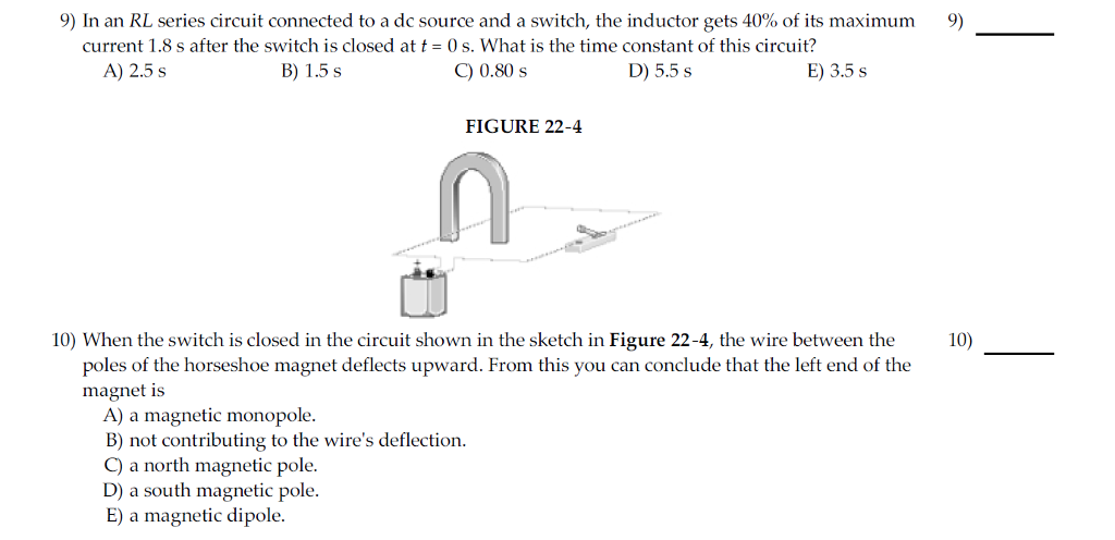Solved: 9) In An RL Series Circuit Connected To A Dc Sourc ...