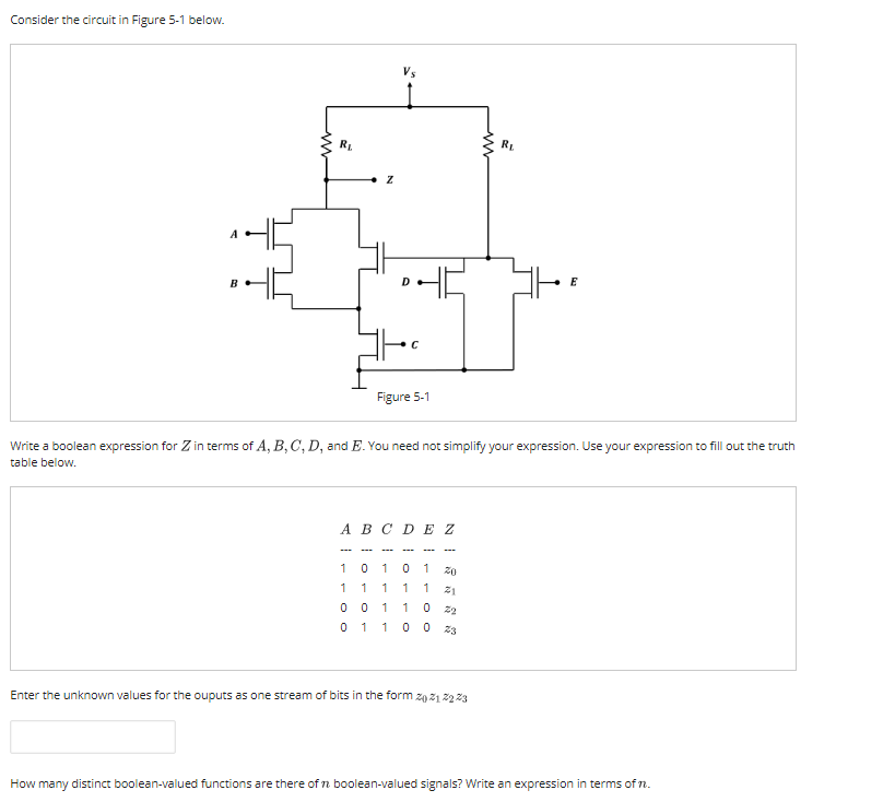 Consider the circuit in Figure 5-1 below. RL Write a boolean expression for Z in terms of A, B,C,D, and E. You need not simplify your expression. Use your expression to fill out the truth table below. ABCDE Z 1010 1 0 0 011 2 0110 03 Enter the unknown values for the ouputs as one stream of bits in the form z0212223 How many distinct boolean-valued functions are there of n boolean-valued signals? Write an expression in terms of n