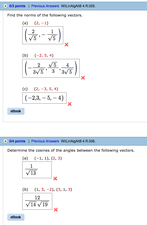 Algebra archive february 16 2017 chegg 2 1 2 5 4 2 3 5 4 determine the cosines of the angles between the following vectors 1 1 2 3 1 3 2 3 1 3 1 answer fandeluxe Gallery