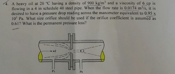 Solved: 4  A Heavy Oil At 20 °C Having A Density Of 900 Kg