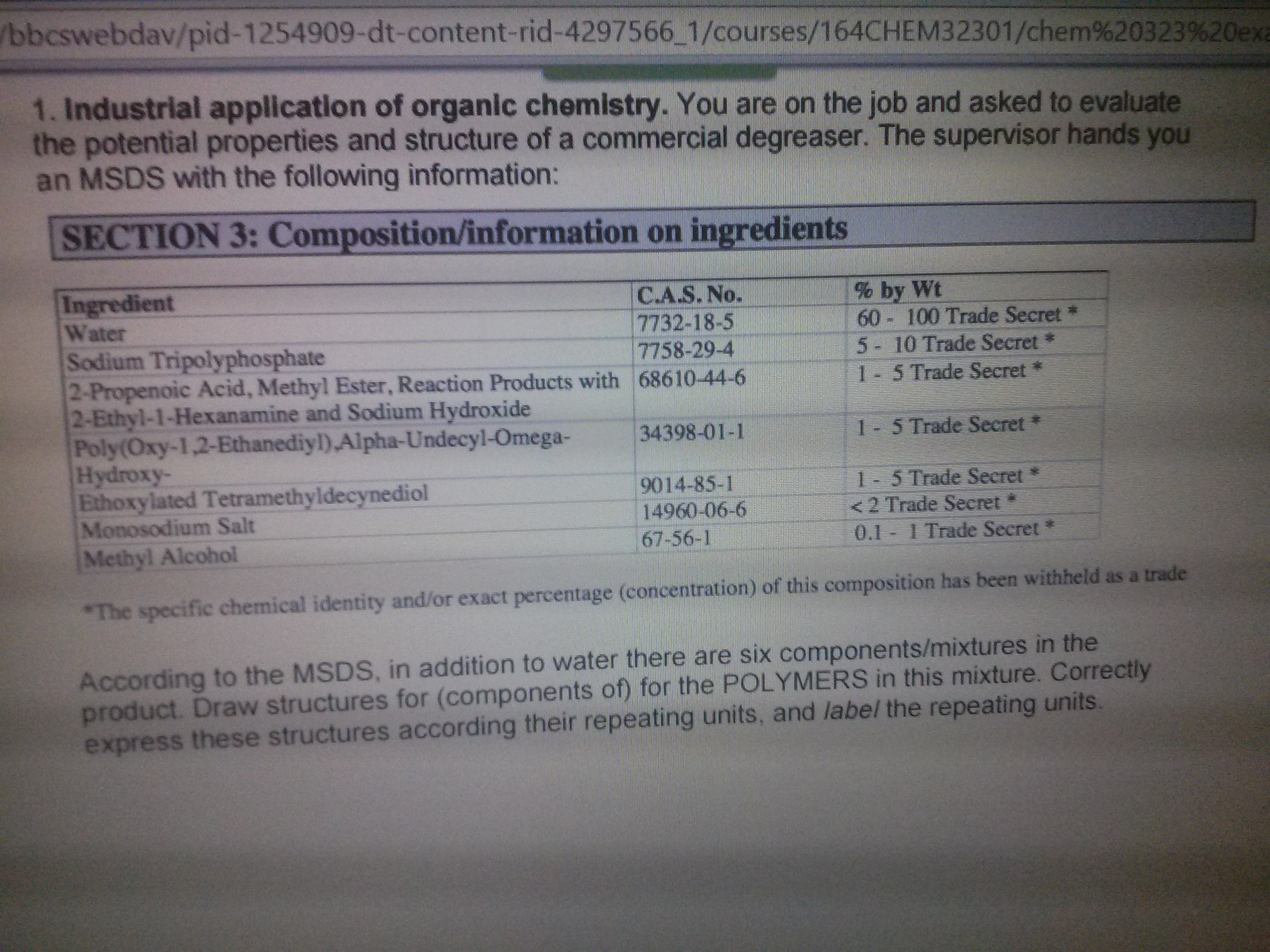 Solved: 1  Industrial Application Of Organic Chemistry  Yo