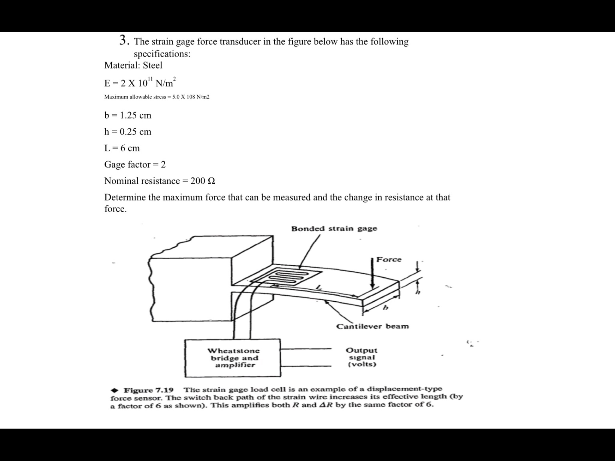 Solved The Strain Gage Force Transducer In Figure Bel Wiring Diagram Question Below Has Following Specifications Material