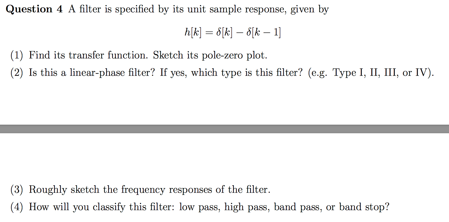 solved a filter is specified by its unit sample response